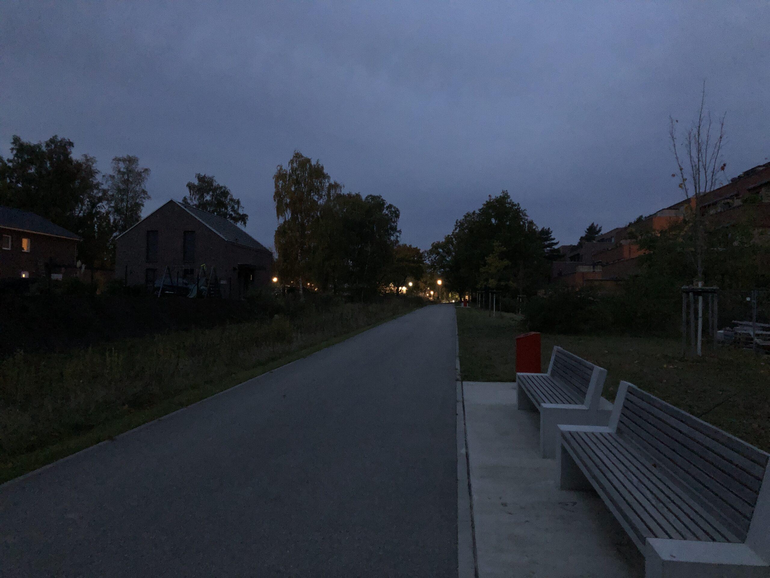 Beleuchtung des Fußwegs im Fischbeker Heidbrook